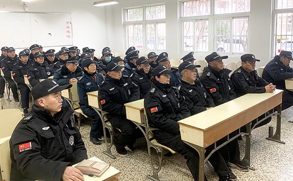 恒杰保安宿州分公司保安员接受培训中